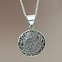 Sterling silver pendant necklace, 'Fern Flower Amulet'