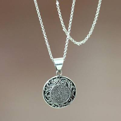 Sterling silver pendant necklace, 'Fern Flower Amulet' - Sterling silver pendant necklace