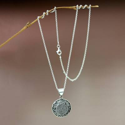 18.75 Fern Flower Amulet NOVICA .925 Sterling Silver Pendant Necklace