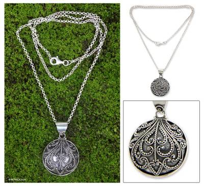 Sterling silver pendant necklace, 'Fern Flower Charm' - Sterling Silver Pendant Necklace from Indonesia
