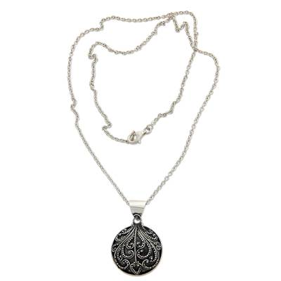 Sterling silver pendant necklace, 'Fern Flower Charm' - Sterling Silver Pendant Necklace from Indonesia