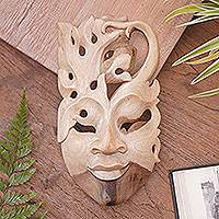 Wood mask, 'Praise Her Virtues' - Wood mask