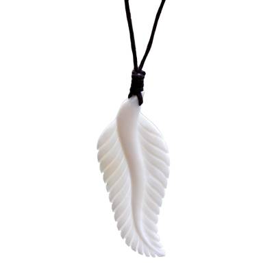Hand Carved Cow Bone Pendant Necklace