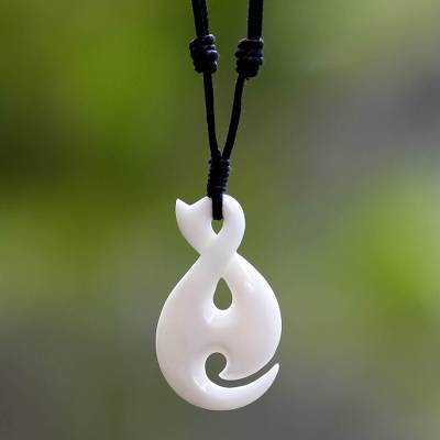 Pendant necklace, 'Eternity Spiral' - Artisan Crafted Cow Bone Pendant Necklace