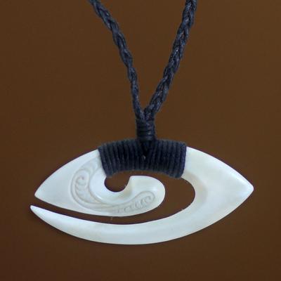Bone pendant necklace, 'Bali Fern Frond'