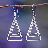 Sterling silver dangle earrings, 'Triangle Trio' - Handcrafted Sterling Silver Dangle Earrings