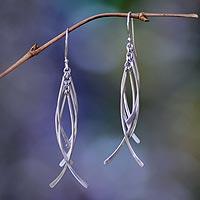 Sterling silver dangle earrings, 'Winter Twigs'