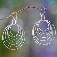 Sterling silver dangle earrings, 'Seven Orbits' - Modern Sterling Silver Dangle Earrings