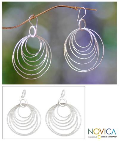 Sterling silver dangle earrings, 'Seven Orbits' - Modern Sterling Silver Dangle Earrings