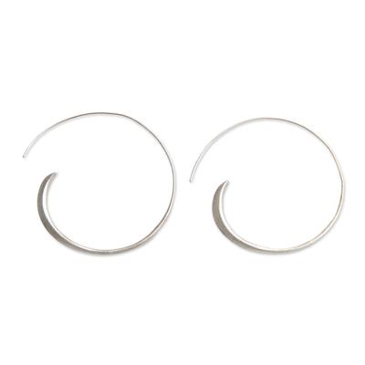 Modern Sterling Silver Half Hoop Earrings