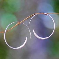 Sterling silver half hoop earrings, 'Spin Me' (medium)