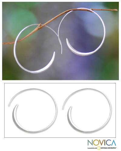 Sterling silver half hoop earrings, 'Spin Me' (medium) - Fair Trade Sterling Silver Hoop Earrings (Medium)