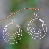 Sterling silver dangle earrings, 'Five Orbits' - Fair Trade Sterling Silver Dangle Earrings