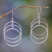 Sterling silver dangle earrings, 'Circle Trio' - Sterling silver dangle earrings