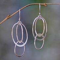 Sterling silver dangle earrings, 'Linked to You' - Unique Sterling Silver Dangle Earrings from Indonesia