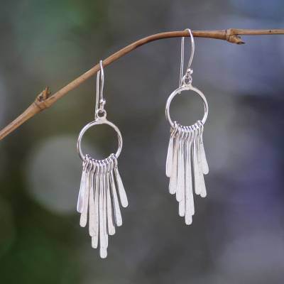Sterling silver chandelier earrings, 'Feather Cascade' - Handmade Indonesian Sterling Silver Waterfall Earrings