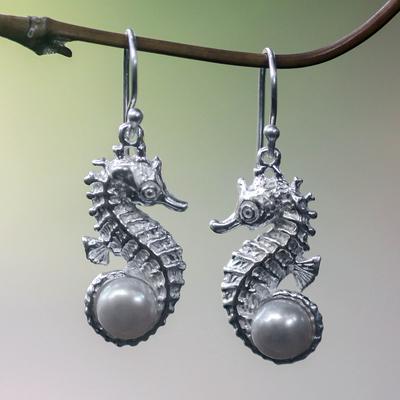 Pearl dangle earrings, 'Sea Horse Treasure' - Unique Sterling Silver and Pearl Dangle Earrings