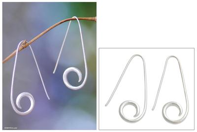 Sterling silver half hoop earrings, 'Curling Fern' - Sterling Silver Earrings