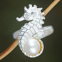 Cultured pearl cocktail ring, 'Sea Horse Treasure' - Handcrafted Sterling Silver and Pearl Ring from Indonesia