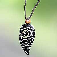 Bone wrap necklace, 'Hook of Peace' - Handmade Indonesian Pendant Necklace