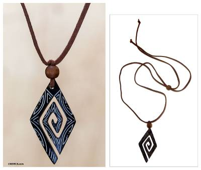 Bone pendant necklace, 'Universe' - Bone Pendant Necklace