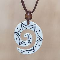 Bone pendant necklace, 'Stargazer' - Unique Cow Bone Pendant Necklace