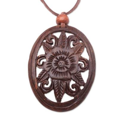 Floral Coconut Shell Pendant Necklace from Indonesia