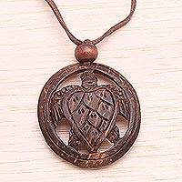 Coconut shell pendant necklace, 'Lucky Turtle' - Coconut shell pendant necklace