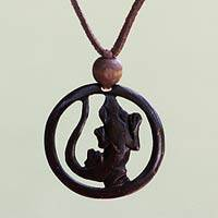 Coconut shell pendant necklace, 'Lucky Gecko'