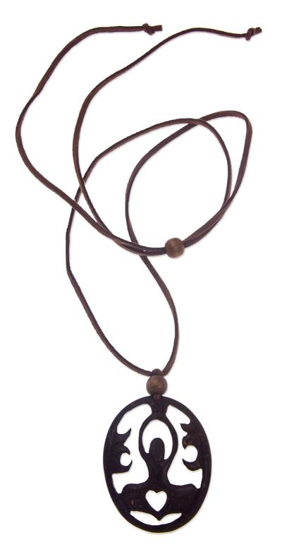Coconut shell pendant necklace, 'Sukhasana Yoga' - Artisan Crafted Coconut Shell Pendant Necklace