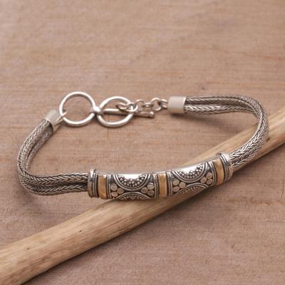 Gold accent braided bracelet, 'Balinese Garden' - Handmade Sterling Silver and 18k Gold Bracelet