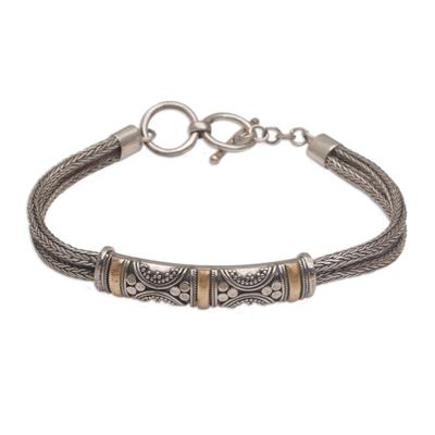 Handmade Sterling Silver and 18k Gold Bracelet