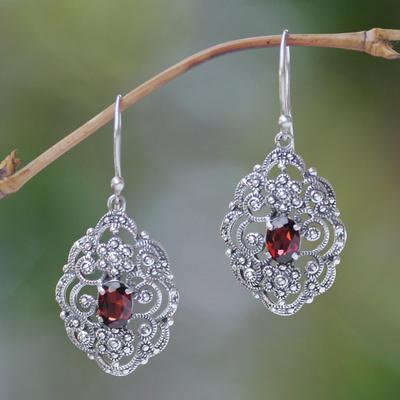 Garnet dangle earrings, 'Kuta Princess' - Fair Trade Sterling Silver and Garnet Dangle Earrings