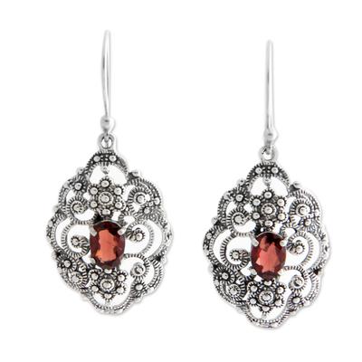 Fair Trade Sterling Silver and Garnet Dangle Earrings