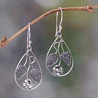 Sterling silver flower earrings, 'Denpasar Blossom' - Floral Sterling Silver Dangle Earrings