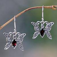 Garnet dangle earrings, 'Petite Butterfly' - Sterling Silver and Garnet Dangle Earrings