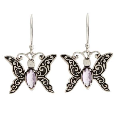 Indonesian Sterling Silver and Amethyst Dangle Earrings