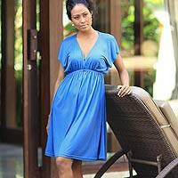 Jersey dress, 'Blue Denpassar Chic' - Handcrafted Women's Jersey Knit Dress