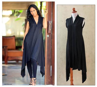 Jersey vest, 'Sumatra Night' - Fair Trade Black Jersey Knit Vest