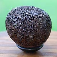 Coconut shell sculpture, 'Scary Rangda' - Coconut shell sculpture