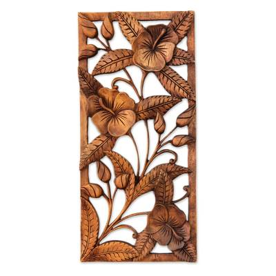 Wood relief panel, 'Sweet Balinese Hibiscus' - Artisan Crafted Floral Wood Relief Panel
