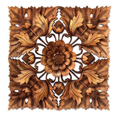 Wood relief panel, 'Precious Lotus' - Unique Floral Wood Relief Panel