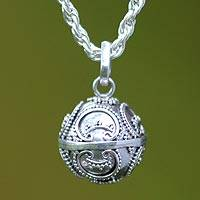 Sterling silver harmony ball necklace, 'Denpasar Moon' - Artisan Crafted Sterling Silver Pendant Necklace