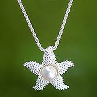 Cultured pearl pendant necklace, 'Sparkling Starfish' - Sterling Silver and Pearl Pendant Necklace
