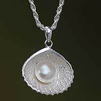 Cultured pearl pendant necklace, 'Oyster Secrets' - Balinese Sterling Silver and Pearl Necklace