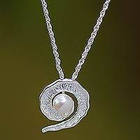 Cultured pearl pendant necklace, 'White Passion Fruit' - Cultured pearl pendant necklace