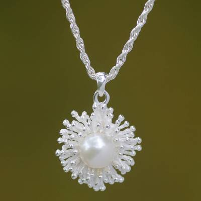 Cultured pearl pendant necklace, 'Pemuteran Treasure' - Fair Trade Sterling Silver and Pearl Pendant Necklace