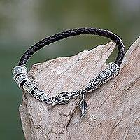 Leather braided bracelet, 'Angel of Nature in Brown'
