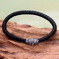 Men's braided leather bracelet, 'Aesthetics' - Men's Bracelet in Braided Leather and Sterling Silver