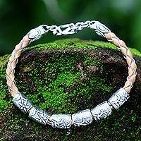 Leather braided bracelet, 'Daisy Dreams' - Sterling Silver and Braided Leather Bracelet from Bali